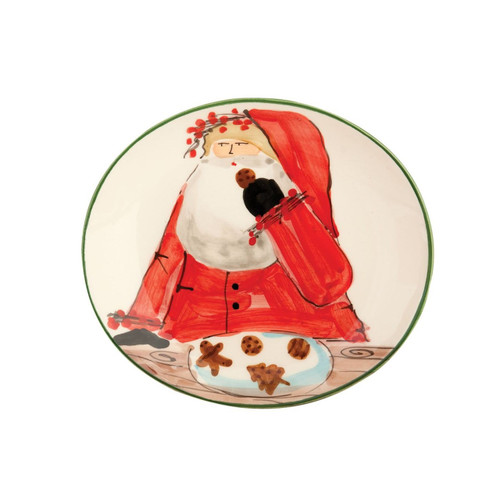 "The Old St. Nick Cookie Plate from VIETRI's boxed gift collection is presented in a red pinstripe box and nestled in rustic straw. 8.25""L, 7.5""W OSN-7839"