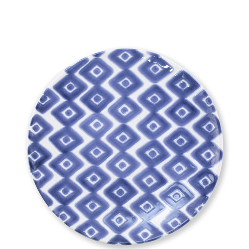 "Vietri Santorini Diamond Salad Plate  VSAN-003001A  9""D  Liven up your everyday dinner parties with the playful designs of Vietri's Santorini from plumpuddingkitchen.com, inspired by a well-traveled lifestyle.   Assorted blue and white patterns make entertaining fun by recreating the beautiful mosaic tiles found in the Greek Isles.   Handmade of hard ceramic.  Dishwasher and microwave safe."