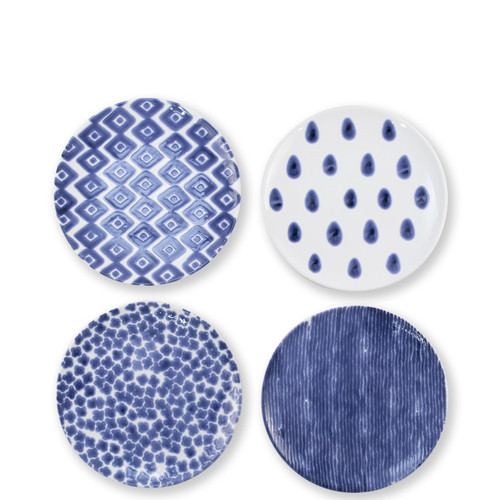 "Vietri Santorini Salad Plate Assorted Set/4  VSAN-003001  9""D  Liven up your everyday dinner parties with the playful designs of Vietri's Santorini from plumpuddingkitchen.com, inspired by a well-traveled lifestyle.   Assorted blue and white patterns make entertaining fun by recreating the beautiful mosaic tiles found in the Greek Isles.   Handmade of hard ceramic.  Dishwasher and microwave safe."