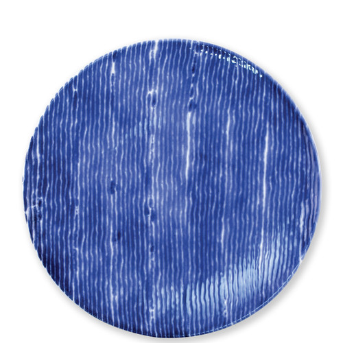 """Vietri Santorini Stripe Dinner Plate  VSAN-003000D  10.75""""D  Liven up your everyday dinner parties with the playful designs of Vietri's Santorini from plumpuddingkitchen.com, inspired by a well-traveled lifestyle.   Assorted blue and white patterns make entertaining fun by recreating the beautiful mosaic tiles found in the Greek Isles.   Handmade of hard ceramic.  Dishwasher and microwave safe."""