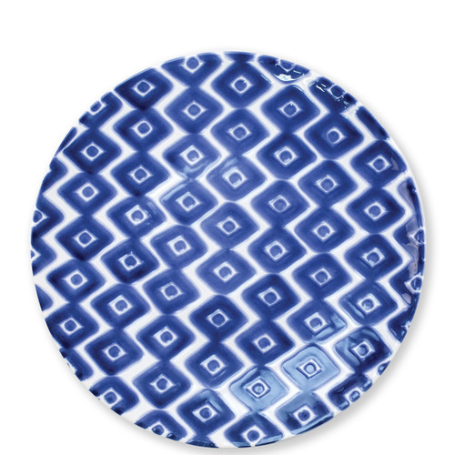 "Vietri Santorini Diamond Dinner Plate  VSAN-003000A  10.75""D  Liven up your everyday dinner parties with the playful designs of Vietri's Santorini from plumpuddingkitchen.com, inspired by a well-traveled lifestyle.   Assorted blue and white patterns make entertaining fun by recreating the beautiful mosaic tiles found in the Greek Isles.   Handmade of hard ceramic.  Dishwasher and microwave safe."