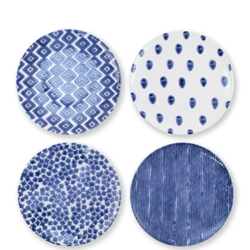 "Vietri Santorini Dinner Plates Assorted Set/4  VSAN-003000  10.75""D  Liven up your everyday dinner parties with the playful designs of Vietri's Santorini from plumpuddingkitchen.com, inspired by a well-traveled lifestyle.   Assorted blue and white patterns make entertaining fun by recreating the beautiful mosaic tiles found in the Greek Isles.   Handmade of hard ceramic.  Dishwasher and microwave safe."