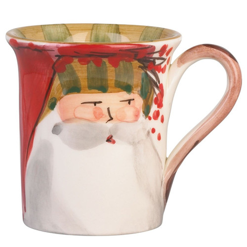 """The Old St. Nick Striped Hat Mug features a handpainted design by maestro artisan Alessandro Taddei. 4.5""""H, 14oz OSN-7810D"""
