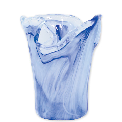 """Vietri Onda Glass Cobalt Small Vase  OND-5281C 6.75""""D, 8.5""""H Mouthblown in Italy, the Onda Glass Cobalt Small Vase from plumpuddingkitchen.com gently recreates waves crashing on the island of Capri. Elegantly complement any bedroom or dining room with this collection's organic shapes in beautiful cobalt."""