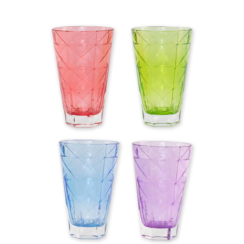 """Viva Vietri Prism Assorted Tall Tumblers Set/4  VPRM-8838 5.75""""H, 14oz Mix and match the Prism Glass from plumpuddingkitchen.com for bridal shower brunches, surprise engagements, or wine nights with your favorite girls."""