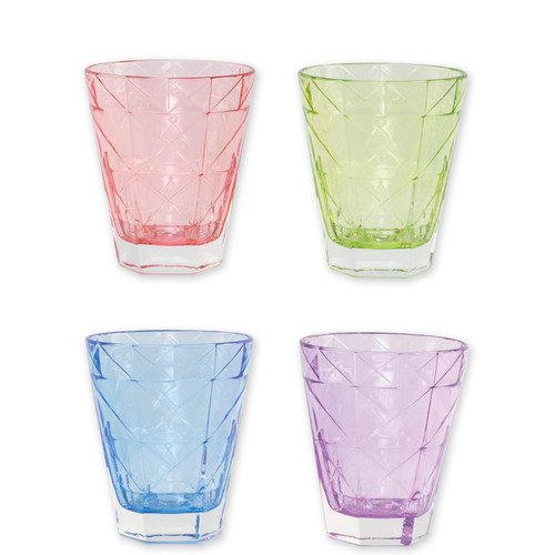 "Viva Vietri Prism Assorted Short Tumblers Set/4  VPRM-8837 4.25""H, 10oz  Mix and match the Prism Glass from plumpuddingkitchen.com for bridal shower brunches, surprise engagements, or wine nights with your favorite girls."