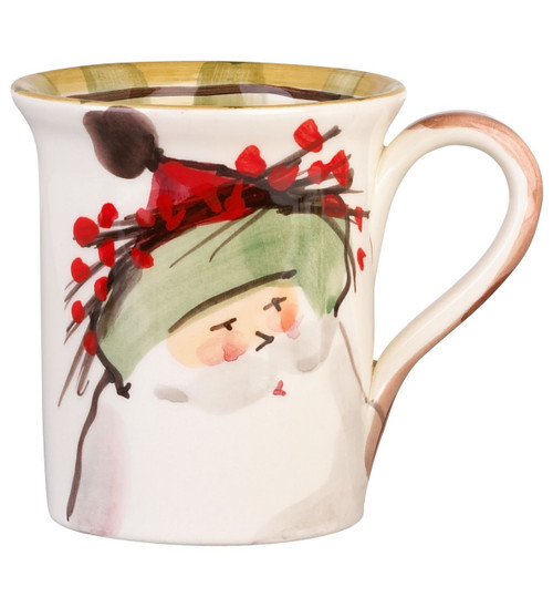 """The Old St. Nick Green Hat Mug features a handpainted design by maestro artisan Alessandro Taddei. 4.5""""H, 14oz OSN-7810B"""