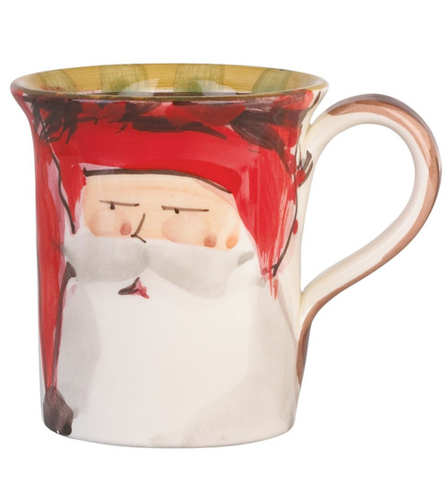 "The Old St. Nick Red Hat Mug features a handpainted design by maestro artisan Alessandro Taddei. 4.5""H, 14oz OSN-7810A"