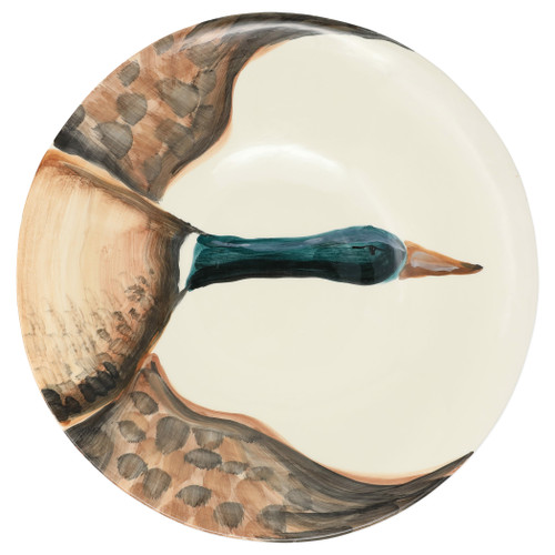 """Vietri Wildlife Mallard Large Serving Bowl  WDL-2622 15.25""""D, 3.25""""H  Celebrate the grandeur of wildlife with Vietri's whimsical Wildlife collection from plumpuddingkitchen.com featuring mallards, pheasants, quails and the beloved hunting dog.   Handpainted on terra bianca in Tuscany.  Dishwasher safe."""