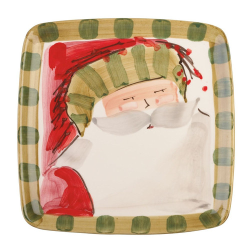 "Our Old St. Nick Square Salad Plate is handpainted by maestro artisan Alessandro Taddei. 8.25"" Sq OSN-7801D"
