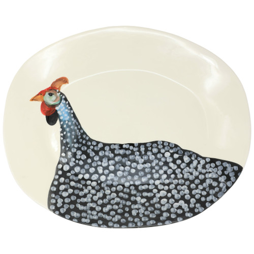 "Vietri Wildlife Guinea Hen Large Oval Platter  WDL-2626 19.5""L, 15.5""W  Celebrate the grandeur of wildlife with Vietri's whimsical Wildlife collection from plumpuddingkitchen.com featuring mallards, pheasants, quails and the beloved hunting dog.   Handpainted on terra bianca in Tuscany.  Dishwasher safe."