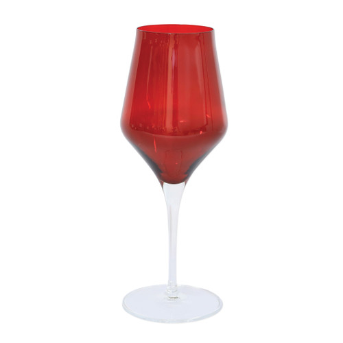"""Vietri Contessa Red Water Glass  CTA-R8810 9.5""""H, 11oz  The elegant and poised body of Vietri's timeless Contessa stemware from plumpuddingkitchen.com was inspired by the grace of an Italian countess, and lends itself to ease and entertaining for everyday occasions.  Handcrafted in Naples. Dishwasher safe."""