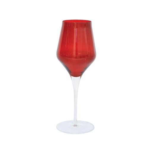 "Vietri Contessa Red Water Glass  CTA-R8810 9.5""H, 11oz  The elegant and poised body of Vietri's timeless Contessa stemware from plumpuddingkitchen.com was inspired by the grace of an Italian countess, and lends itself to ease and entertaining for everyday occasions.  Handcrafted in Naples. Dishwasher safe."
