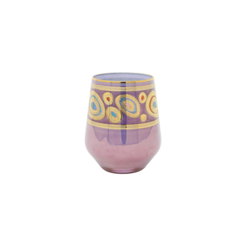 "Vietri Regalia Purple Stemless Wine Glass  RGI-7621P 4.5""H, 12oz  Ornate emblems and decorations indicative of royalty inspired this unique drinkware collection. The Vietri Regalia Stemless Wine Glass from plumpuddingkitchen.com is handpainted in 14-karat gold."