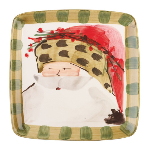 """The Old St. Nick Animal Hat Square Salad Plate is handpainted by maestro artisan Alessandro Taddei. 8.25"""" Sq OSN-7801C"""