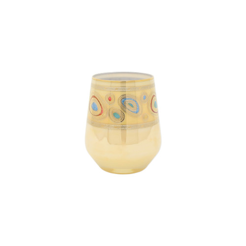 "Vietri Regalia Cream Stemless Wine Glass  RGI-7621C 4.5""H, 12oz  Ornate emblems and decorations indicative of royalty inspired this unique drinkware collection. The Vietri Regalia Stemless Wine Glass from plumpuddingkitchen.com is handpainted in 14-karat gold."