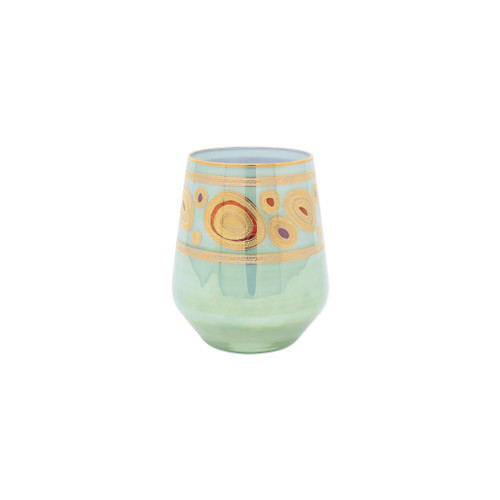"Vietri Regalia Aqua Stemless Wine Glass  RGI-7621A 4.5""H, 12oz  Ornate emblems and decorations indicative of royalty inspired this unique drinkware collection. The Vietri Regalia Stemless Wine Glass from plumpuddingkitchen.com is handpainted in 14-karat gold."