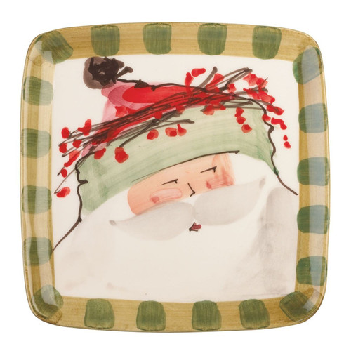 "Our Old St. Nick Green Hat Square Salad Plates are handpainted by maestro artisan Alessandro Taddei. 8.25"" Sq OSN-7801B"