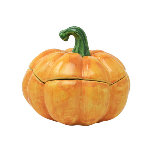 "Vietri Pumpkins Figura Covered Medium Pumpkin   PKN-1167 8.75""D, 7.5""H  Inspired by a walk through the lively street markets in Florence, Pumpkins from plumpuddingkitchen.com is a playful yet sophisticated take on the fall harvest.   Handpainted on terra bianca in Veneto.   Dishwasher safe."