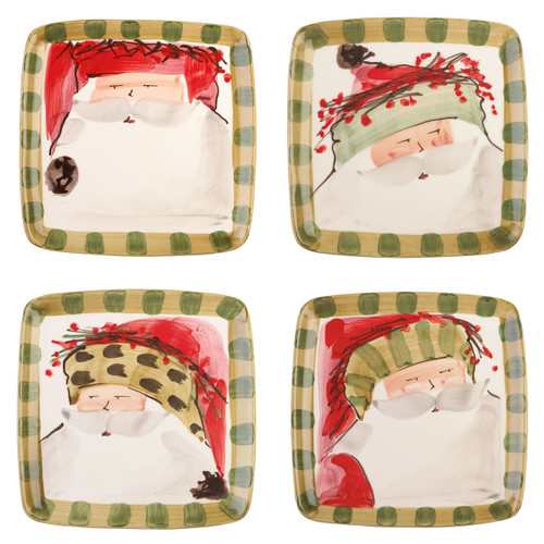 "Vietri Old St Nick Square Salad Set/4  OSN-7801 8.25"" SQ Vietri Old St Nick Square Salad Plates from plumpuddingkitchen.com are handmade of terra bianca (white clay) in Tuscany. Four jolly santas are handpainted on this assorted set of salad plates. Makes a great gift for the holidays!"
