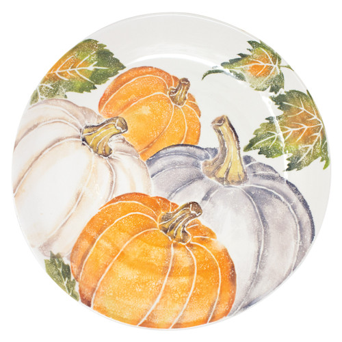 "Vietri Pumpkins Large Serving Bowl w/ Assorted Pumpkins  PKN-9732 15.25""D, 2.75""H  Inspired by a walk through the lively street markets in Florence, Pumpkins from plumpuddingkitchen.com is a playful yet sophisticated take on the fall harvest.   Handpainted on terra bianca in Veneto.   Dishwasher and microwave safe."