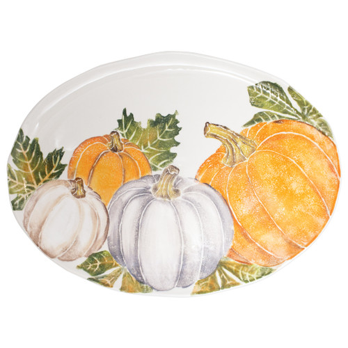 "Vietri Pumpkins Large Oval Platter w/ Assorted Pumpkins  PKN-9726 21.5""L, 15.75""W  Inspired by a walk through the lively street markets in Florence, Pumpkins from plumpuddingkitchen.com is a playful yet sophisticated take on the fall harvest.   Handpainted on terra bianca in Veneto.   Dishwasher and microwave safe."