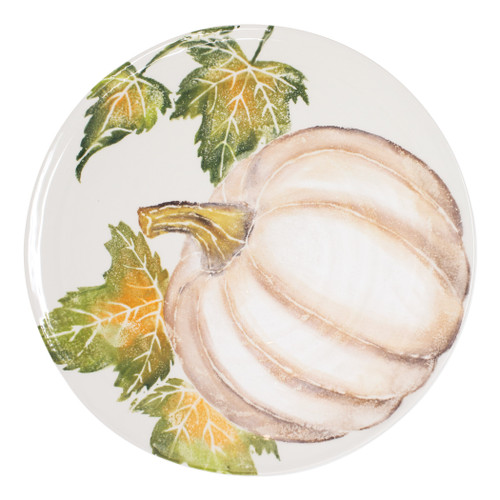 "Vietri Pumpkins Round Platter w/ Pumpkin  PKN-9723 14.25""D  Inspired by a walk through the lively street markets in Florence, Pumpkins from plumpuddingkitchen.com is a playful yet sophisticated take on the fall harvest.   Handpainted on terra bianca in Veneto.   Dishwasher and microwave safe."