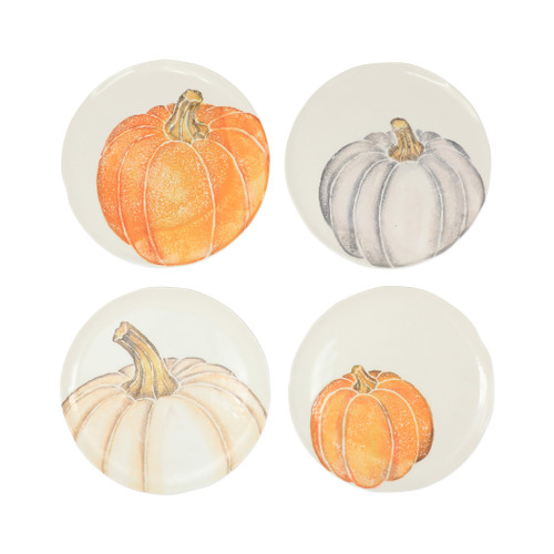 "Vietri Pumpkins Assorted Salad Plates Set/4  PKN-9701 9""D  Inspired by a walk through the lively street markets in Florence, Pumpkins from plumpuddingkitchen.com is a playful yet sophisticated take on the fall harvest.   Handpainted on terra bianca in Veneto.   Dishwasher and microwave safe."