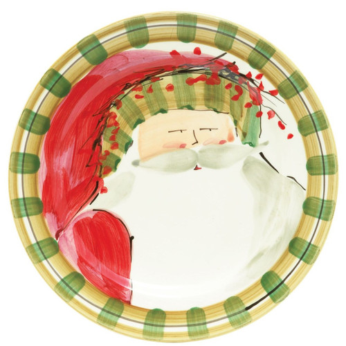 "Our Old St. Nick Striped Hat Dinner Plate is handpainted by Alessandro Taddei and features Old St. Nick with a festive hat. 10.75"" D OSN-7800D"