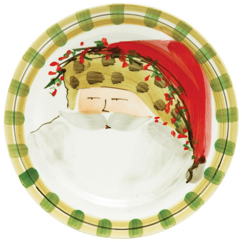 """Our Old St. Nick Animal Hat Dinner Plate is handpainted by maestro artisan Alessandro Taddei, and it features Old St. Nick with a stylish animal print hat. 10.75"""" D OSN-7800C"""