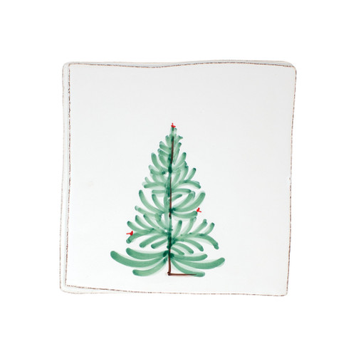 "Vietri Lastra Holiday Trivet  LAH-2686 8""Sq  Make time for your loved ones this season when you gather around the cheerful design of Vietri's Lastra Holiday from plumpuddingkitchen.com.  Handcrafted of Italian stoneware in Tuscany.    Dishwasher, microwave, freezer and oven safe."