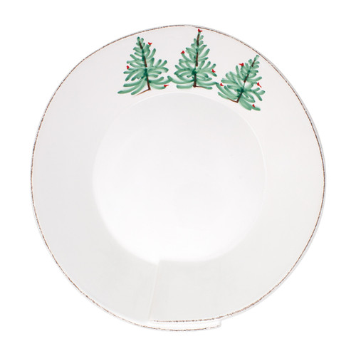 "Vietri Lastra Holiday Large Shallow Serving Bowl  LAH-26026 115""D, 3.5""H  Make time for your loved ones this season when you gather around the cheerful design of Vietri's Lastra Holiday from plumpuddingkitchen.com.  Handcrafted of Italian stoneware in Tuscany.    Dishwasher, microwave, freezer and oven safe."