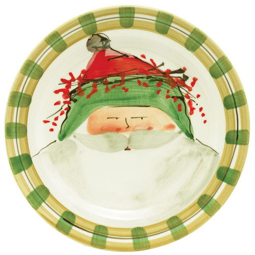 "Our Old St. Nick Green Hat Dinner Plate is handpainted by maestro artisan Alessandro Taddei and features jolly Old St. Nick sporting his festive green cap. 10.75"" D OSN-7800B"