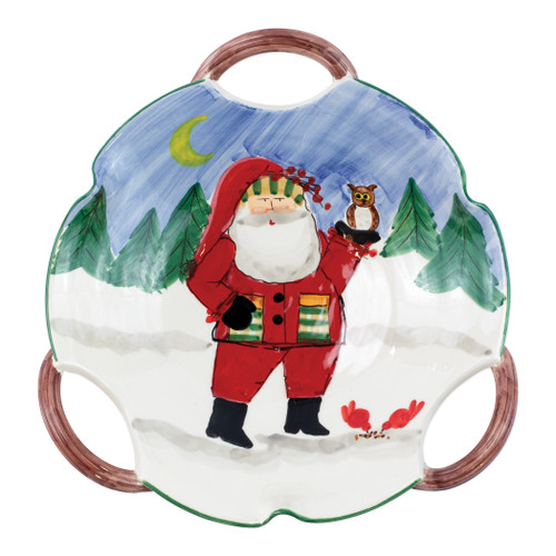 """Vietri Old St Nick Scallop Bowl - Santa with Owl  OSN-78080  """"Inspired by childhood memories of Babbo Natale, Italy's Santa Claus, maestro artisans handpaint the Old St. Nick Handled Scallop Bowl - Santa w/ Owl from plumpuddingkitchen.com, providing us a glimpse into Old St. Nick's daily adventures leading up to preparations for each holiday season. 