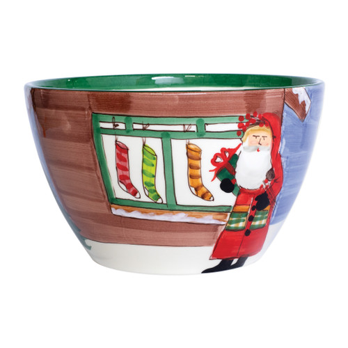 """Vietri  Old St Nick Large Deep Bowl - Santa w/ Stockings OSN-78083  """"Inspired by childhood memories of Babbo Natale, Italy's Santa Claus, maestro artisans handpaint the Old St. Nick Large Deep Bowl - Santa w/ Stockings from plumpuddingkitchen.com, providing us a glimpse into Old St. Nick's daily adventures leading up to preparations for each holiday season. 