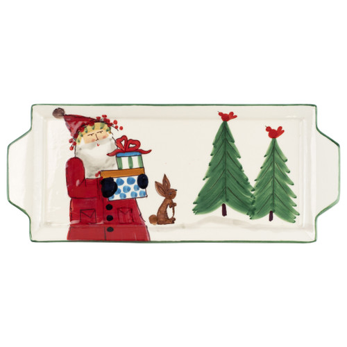 """Vietri Old St Nick Handled Rectangular Platter OSN-78085  """"Inspired by childhood memories of Babbo Natale, Italy's Santa Claus, maestro artisans handpaint the Old St. Nick Handled Rectangular Platter, providing us a glimpse into Old St. Nick's daily adventures leading up to preparations for each holiday season. 