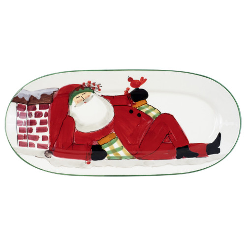 "Vietri Old St Nick Small Oval Platter  OSN-78084  ""Inspired by childhood memories of Babbo Natale, Italy's Santa Claus, maestro artisans handpaint the Old St. Nick Small Oval Platter, providing us a glimpse into Old St. Nick's daily adventures leading up to preparations for each holiday season. 
