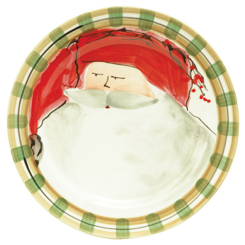 "Our Old St. Nick Red Hat Dinner Plate is handpainted by maestro artisan Alessandro Taddei and features Old St. Nick with a festive red cap. 10.75""D OSN-7800A"