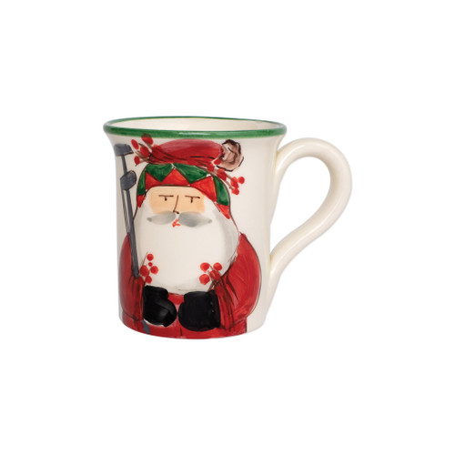 """Vietri Old St Nick Mug - Golfing  OSN-8087  """"Inspired by childhood memories of Babbo Natale, Italy's Santa Claus, maestro artisans handpaint the Old St. Nick Mug - Golfing from plumpuddingkitchen.com, providing us a glimpse into Old St. Nick's daily adventures leading up to preparations for each holiday season. 