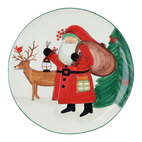 """Vietri Old St Nick 2019 Limited Edition Round Platter OSN-78078-LE  """"Enjoy everything nature has to offer this holiday season with our Limited Edition collection from plumpuddingkitchen.com featuring Babbo Natale in the woodlands accompanied by his beloved animal friends- his red bird companion, wise old owl, and trusted deer.   Care: Dishwasher Safe   Material: Terra Bianca Earthenware   Measurement: 14""""""""D"""""""