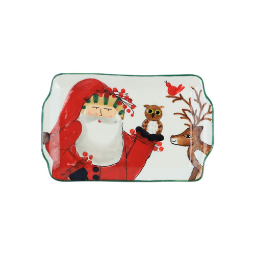 """Vietri Old St Nick 2019 Limited Edition Rectangular Plate  OSN-78076-LE  """"Enjoy everything nature has to offer this holiday season with our Limited Edition collection from plumpuddingkitchen.com featuring Babbo Natale in the woodlands accompanied by his beloved animal friends- his red bird companion, wise old owl, and trusted deer. 