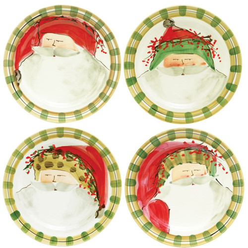 """Vietri's signature holiday collection is created from maestro artisan Alessandro Taddei's childhood memories of stories his mother read to him about Babbo Natale. These four Old St. Nick Assorted Dinner Plates feature Old St. Nick in his different holiday outfits. (sold in sets of 4)   10.75"""" D OSN-7800"""