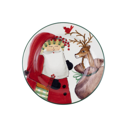 "Vietri Old St Nick 2019 Limited Edition Salad Plate OSN-78075-LE  ""Enjoy everything nature has to offer this holiday season with our Limited Edition collection from plumpuddingkitchen.com featuring Babbo Natale in the woodlands accompanied by his beloved animal friends- his red bird companion, wise old owl, and trusted deer. 