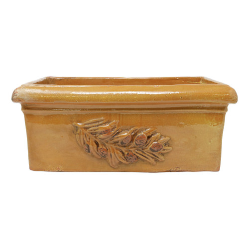"Vietri Rustic Garden Olives Yellow Rectangular Planter  RGA-89108Y  ""The Rustic Garden Olives Yellow Rectangular Planter is handsculpted in Italy, and is a beautiful way to bring Italian style into your home through small accents. 