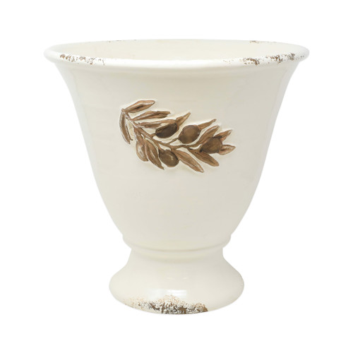 "Vietri Rustic Garden Olives Linen Tall Planter  RGA-89099L  ""The Rustic Garden Olives Linen Tall Planter is handsculpted in Italy, and is a beautiful way to bring Italian style into your home through small accents. 