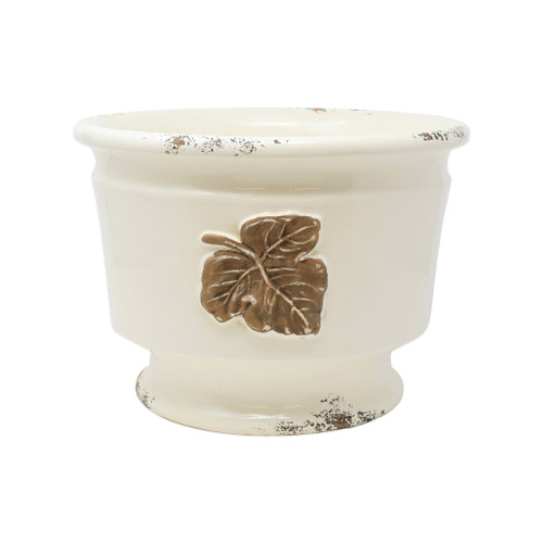 "Vietri Rustic Garden Leaves Medium Round Cachepot  RGA-8903L  ""The Rustic Garden Leaves Medium Round Cachepot is handsculpted in Italy, and is a beautiful way to bring Italian style into your home through small accents. 