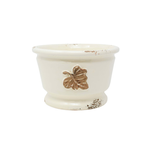 "Vietri Rustic Garden leaves Small Round Cachepot  RGA-89102L  ""The Rustic Garden Leaves Small Round Cachepot is handsculpted in Italy, and is a beautiful way to bring Italian style into your home through small accents. 
