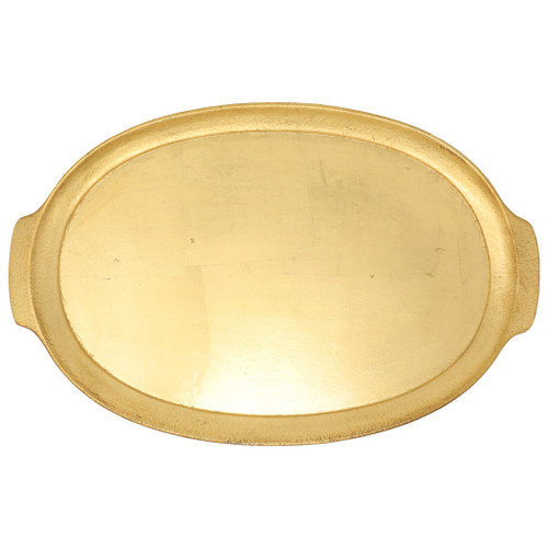 """Vietri Florentine Wooden Handled Medium Oval Tray  FWD-6218  """"Maestro artisans handcarve each beautiful curve of the Florentine Wooden Accessories Handled Medium Oval Tray before applying a signature gold leaf. This timeless collection is handcrafted in Florence, Italy, home to the Renassiance and the influential Medici family. 