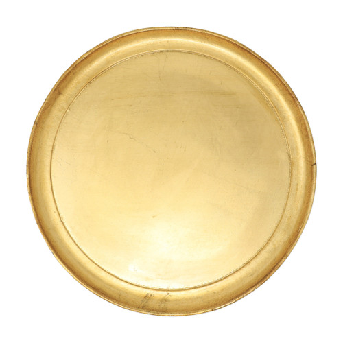 "Vietri Florentine Wooden Medium Round Tray  FWD-6217  ""Maestro artisans handcarve each beautiful curve of the Florentine Wooden Accessories Medium Round Tray before applying a signature gold leaf. This timeless collection is handcrafted in Florence, Italy, home to the Renassiance and the influential Medici family. 