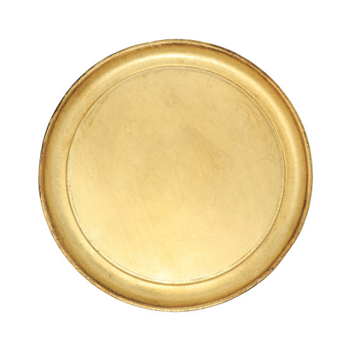 """Vietri Florentine Wooden Small Round Tray  FWD-6216  """"Maestro artisans handcarve each beautiful curve of the Florentine Wooden Accessories Small Round Tray before applying a signature gold leaf. This timeless collection is handcrafted in Florence, Italy, home to the Renassiance and the influential Medici family. 